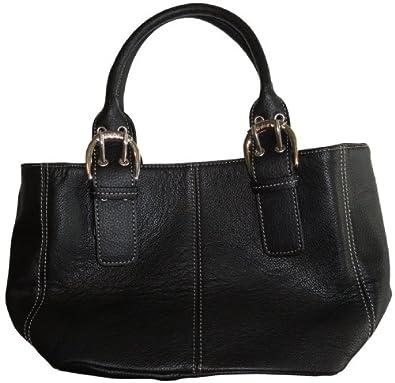 Women's Tignanello Purse Handbag Perfect 10 French Leather Tote Black
