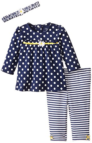 Little Me Baby-Girls Newborn Dot Daisy Tunic Legging Set, Navy Multi, 3 Months