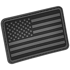 Hazard 4 US Flag Rubber 3D Velcro Morale Patch, Left Arm, Black/Grey
