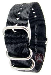Praetorian® DiverTec Extrem Nato Armband - Taucherarmband schwarz 22mm