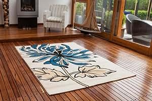 Tappeti economici colori Crema Caldo & Blu con Grande Motivo Floreale 8919 - 3 Misure ...