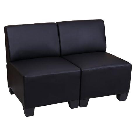 Canapé modulaire à 2 places Lyon, similicuir ~ noir, sans accoudoirs