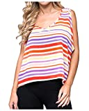 G2 Chic Women's Sleeveless Striped Bandage Woven Top