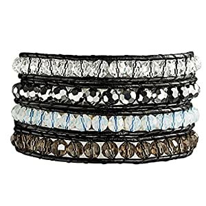 Rafaela Donata - Bracelet en cuir véritable - Cuir véritable cristal de verre, bracelet cristal de verre, collier en cuir véritable, bijoux en cuir - 60831020