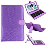 "HDE Diamond Stitch Hard Leather Folding Folio Case Cover with Micro USB Keyboard for 7"" Tablet (Purple)"