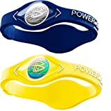 Power Balance Silicone Sports Wristbands-Blue-PB-Neon-Yellow-M-Pack-of-2