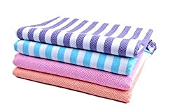 Sathiyas Cotton Bath Towel Pack of 4 (Blue, Lavender, Pink, Orange) (Blue||Lavender, Pink||Orange)