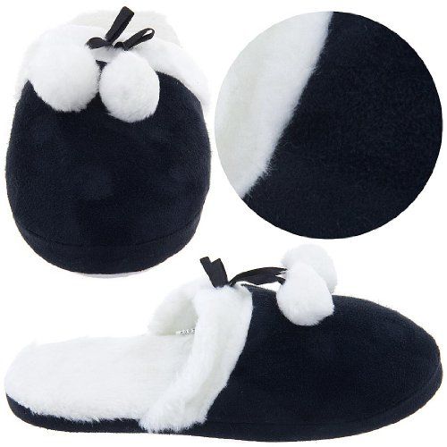 Image of Black Slippers with Faux Fur Slippers for Women (B004Z240H8)