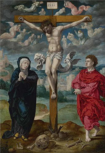 Oil Painting 'Circle Of Pieter Coecke Van Aalst - The Crucifixion - Central Panel,probably 1525-35' 18 x 26 inch / 46 x 67 cm , on High Definition HD canvas prints, Basement, Game Room, Home T decor (Plane Tickets T compare prices)