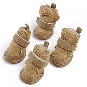 Warm Walking Cozy Pet Dog Shoes Boots Clothes Apparel 3# - Tan--Fit Paws (Approx.): 1 3/4'' x 1 1/2'' (L x W)
