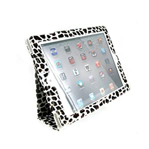 Portfolio Leather Case for iPad 2 2nd Generation Animal Series - [White Leopard Print] with Built-in Stand + Screen Protector