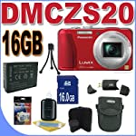Panasonic Lumix DMC-ZS20 14.1 MP Digital Camera with 16x Wide Angle Optical Image Stabilized Zoom and Built-In GPS Function (Red) Accessory Saver 16GB Bundle