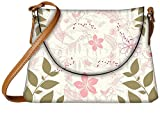 Snoogg Green Leaf White Pattern Designer Womens Carry Around Sling Bags