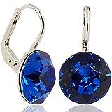 Ohrringe-mit-Kristallen-von-Swarovski-Farbe-Silber-Safir-Blau-Made-in-Germany
