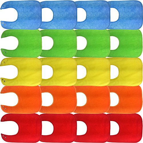 Waterproof Baby Bibs with Snaps, Unisex, Bulk 20 Pack, Solid Colors