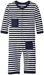 L\'ovedbaby Unisex-Baby Newborn Organic Long Sleeve Overall, Navy/White, 6/9 Months