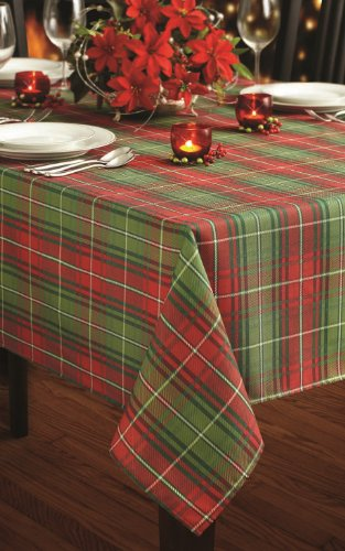 Christmas Plaid Printed Tablecloth, 60-Inch by 120-Inch