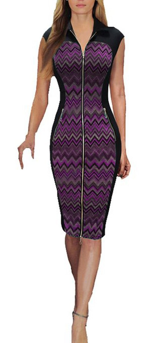 REPHYLLIS Women Vintage Zipper Cocktail Party Work Casual Pencil Dress 0