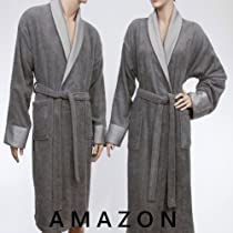 Big Sale Luxury Hotel / Spa Collection - Grey Ring Spun Terry Bathrobe with Silky Finished Collar & Cuffs, 100% Genuine Turkish Cotton, Size: S / M