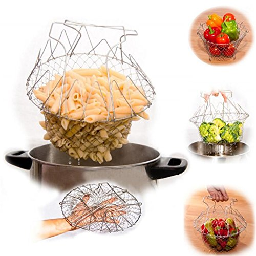 Best-selling 1pc Foldable Steam Rinse Strain Fry Chef Basket Magic Basket Mesh Basket Strainer Net Kitchen Cooking Tool (Stir Fry Stirrer compare prices)