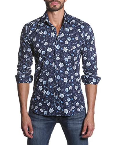Jared Lang Men's Button Down Shirt with Contrast Collar and Cuff