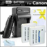 2 Pack Battery And Charger Kit For Canon PowerShot SX260 HS, SX280 HS, SX510 HS, SX520 HS, SX170 IS, S120, SX600 HS, SX700 HS, SX610 HS, SX710 HS, SX530 HS, D30 Digital Camera (Replaces NB-6L Battery)