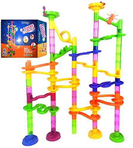 Marble-Run-Coaster-85-Piece-Set-with-55-Building-Blocks30-Plastic-Race-Marbles-Learning-Railway-Construction-TEVELO-DIY-Constructing-Maze-Toy-for-All-Family-Classic-Endless-Track-Design-Fun-Kit
