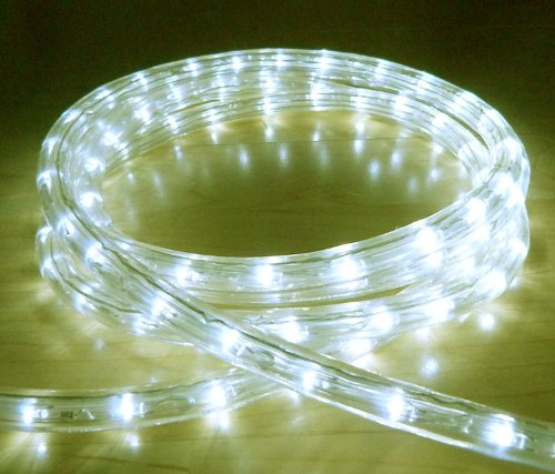 WARM WHITE LED OUTDOOR ROPE LIGHT WITH 8 FUNCTIONS - CHASING, STATIC, ETC ** IDEAL FOR GARDEN DECKING, MOOD LIGHTING, WEDDINGS **