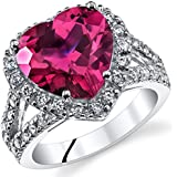 6.25 Carats Heart Shape Created Ruby Ring Sterling Silver Sizes 5 to 9