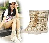 レインシューズ レインブーツ 雨靴 レディース 女性用 雨具 靴 ミドル丈 英字柄 hy403-yx06
