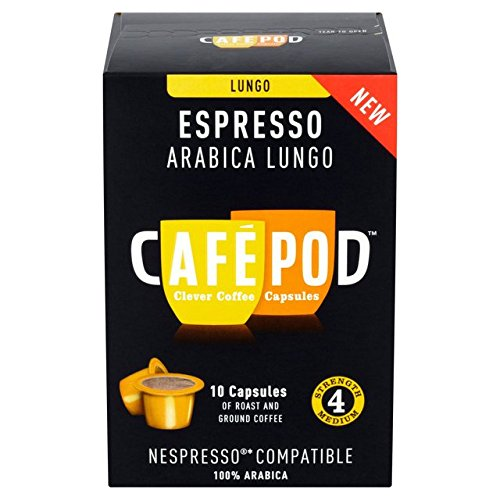 Choose CafePod Arabica Lungo Nespresso Compatible Coffee Capsules 10 per pack from CafePod