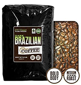 Dark Brazilian Organic Fair Trade , Whole Bean Coffee, Fresh Roasted Coffee LLC