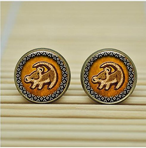 [Lion King Simba Rafiki totoro Earrings Studs jewelry glass Cabochon Earrings Post (silver2)] (Rafiki And Simba Halloween Costume)