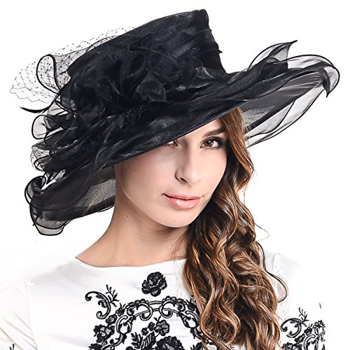 7bee3e3b Fanny Lightweight Kentucky Derby Church Dress Wedding Hat #S052  (S042-BLACK) | Hat Outlet Sale