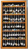 60 Spoon Display Case Cabinet Holder Rack Real glass door-Oak