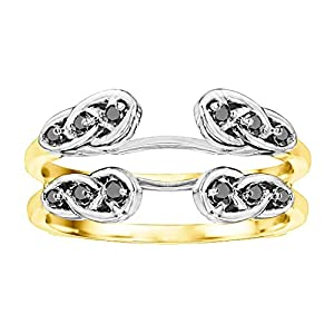 0.24CT Black Cubic Zirconia Infinity Celtic Ring Guard Enhancer set in Two Tone Sterling Silver (0.24CT TWT Black Cubic Zirconia)