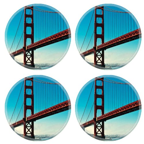 San Francisco Golden Gate Sailboat Bay Ocean Sky Water Round Coaster (4 Piece) Set Fabric Rubber 5 Inch Size Liil Coaster Cup Mug Can Water Bottle Drink Coasters Stain Resistance Collector Kit Kitchen Table Top Desk front-930744
