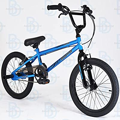 "Muddyfox Griffin 18"" BMX Bike with Stunt Pegs in Blue and Black - Boys Brand New 2016 Model - Muddyfox Exclusive Unique Range"