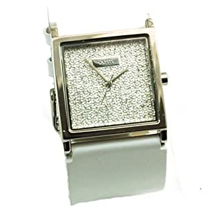 Oasis Ladies White Leather Strap CZ Dial Watch