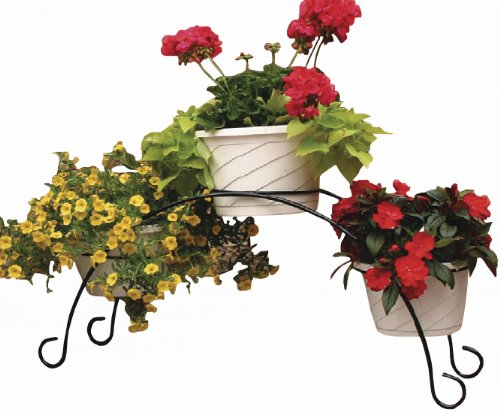 Garden Odyssey PS94-8 3 Flower Pot Bridge, Black