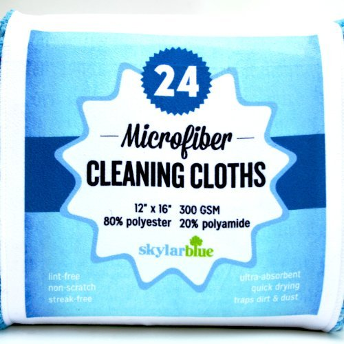 Microfiber Cloth, 24 Pack Microfiber Cleaning Cloths for Kitchen, Bath, Dusting, Stainless Steel, Glass, Computer & Tech Screens, Windows--Premium 300 gsm, large 12