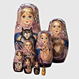 """8 Pc Russian Nesting Dolls - The Cat Ladies-Hand Painted Hand Made Wooden Nesting Dolls Matryoshka Figurines - Set of 8 Dolls From 5.5"""" Tall"""