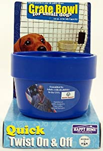 Happy Home Crate Bowl for Small Dogs and Puppies up to 25 Pounds- Blue Color- Bowl Has a 10 Oz Capacity