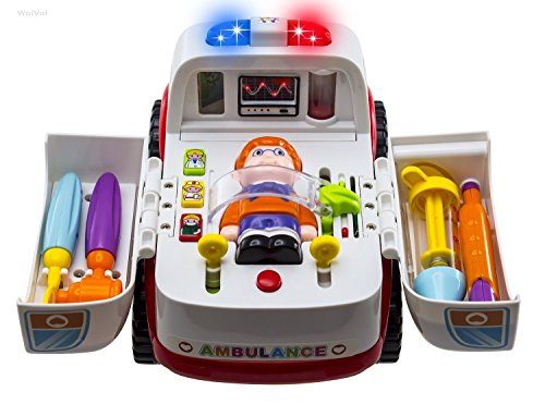 WolVol Bump & Go Ambulance Rescue Vehicle with Various Medical Equipment, Lights Music and Medical Sounds, Driver and Patient