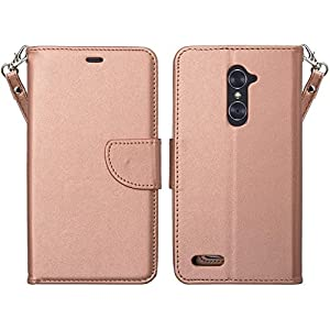 ZTE Z Max Pro Case, ZTE Grand X Max 2 Case, ZTE Imperial Max / ZTE Max Duo LTE Case, Wrist Strap Flip Folio [Kickstand] Pu Leather Wallet Case with ID&Credit Card Slot for ZTE Grand X Max 2, Rose Gold by Galaxy Wireless