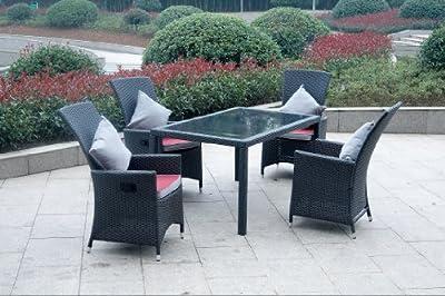 Ambientehome verstellbarer Polyrattan Sessel Stuhl Nairobi, schwarz von Sparmeile - Gartenmöbel von Du und Dein Garten