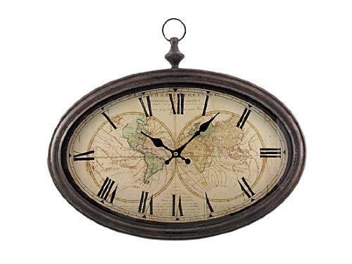 World Map Antiqued Bronze Framed Wall Clock front-1043301