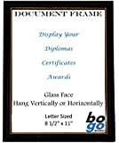 8.5 x 11 Inch Document Frame Black with Gold Trim - Diploma, Award and Certificate Frames by bogo Brands