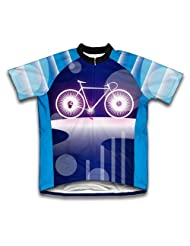 Blue Wheels Short Sleeve Cycling Jersey for Women