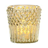 Luna Bazaar Home Decorative Accents Gold Mercury Glass Candle Holder Diamond Top Design